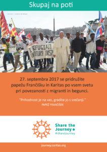 Papež Frančišek vabi na pot z migranti in begunci