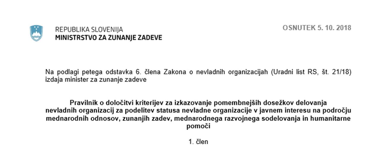 Nekateri predlogi NVO vključeni v Pravilnik za podelitev statusa NVO v javnem interesu