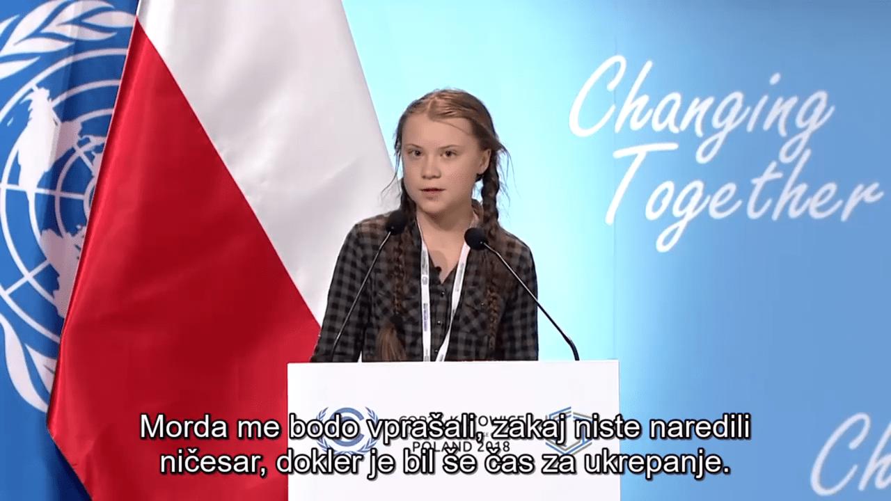 Slovenski prevod govora Grete Thunberg na konferenci ZN o podnebnih spremembah