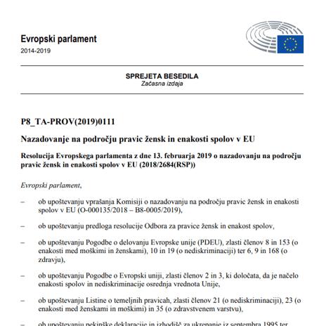 Evropski parlament sprejel Resolucijo o nazadovanju na področju pravic žensk in enakosti spolov v EU