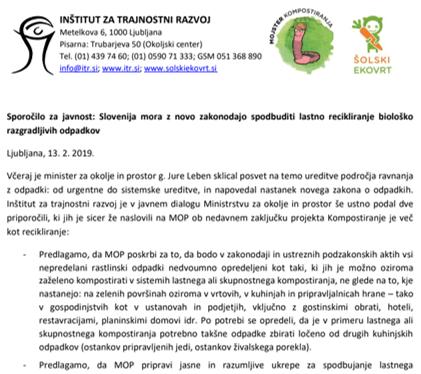 Slovenija mora z novo zakonodajo spodbuditi lastno recikliranje biološko razgradljivih odpadkov