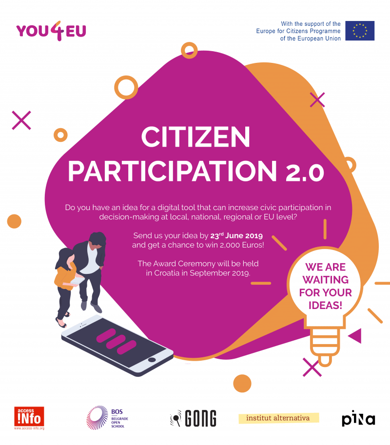 Natečaj Citizenship participation 2.0 – Awarding Best New and Innovative Solutions and Tools for Citizen Participation
