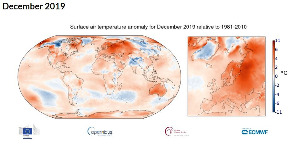 Leto 2019 je bilo drugo najbolj vroče leto v zgodovini