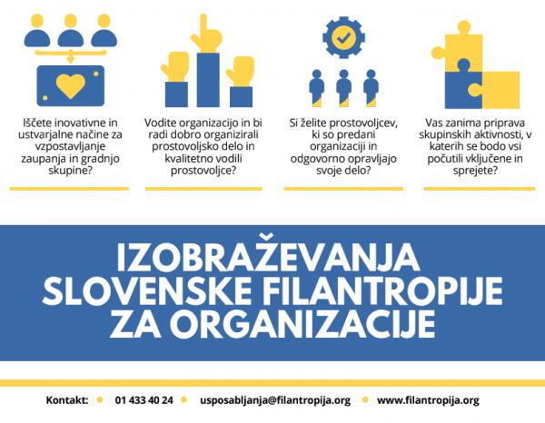 Izobraževanje Slovenske filantropije za mentorje prostovoljcev in prostovoljce