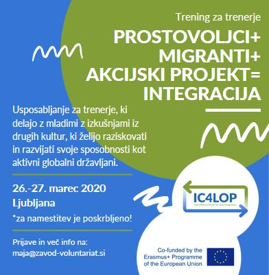 Usposabljanje Prostovoljci + migranti + akcijski projekti = integracija
