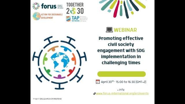 Spletna razprava o učinkovitem sodelovanju civilne družbe pri udejanjanju ciljev trajnostnega razvoja