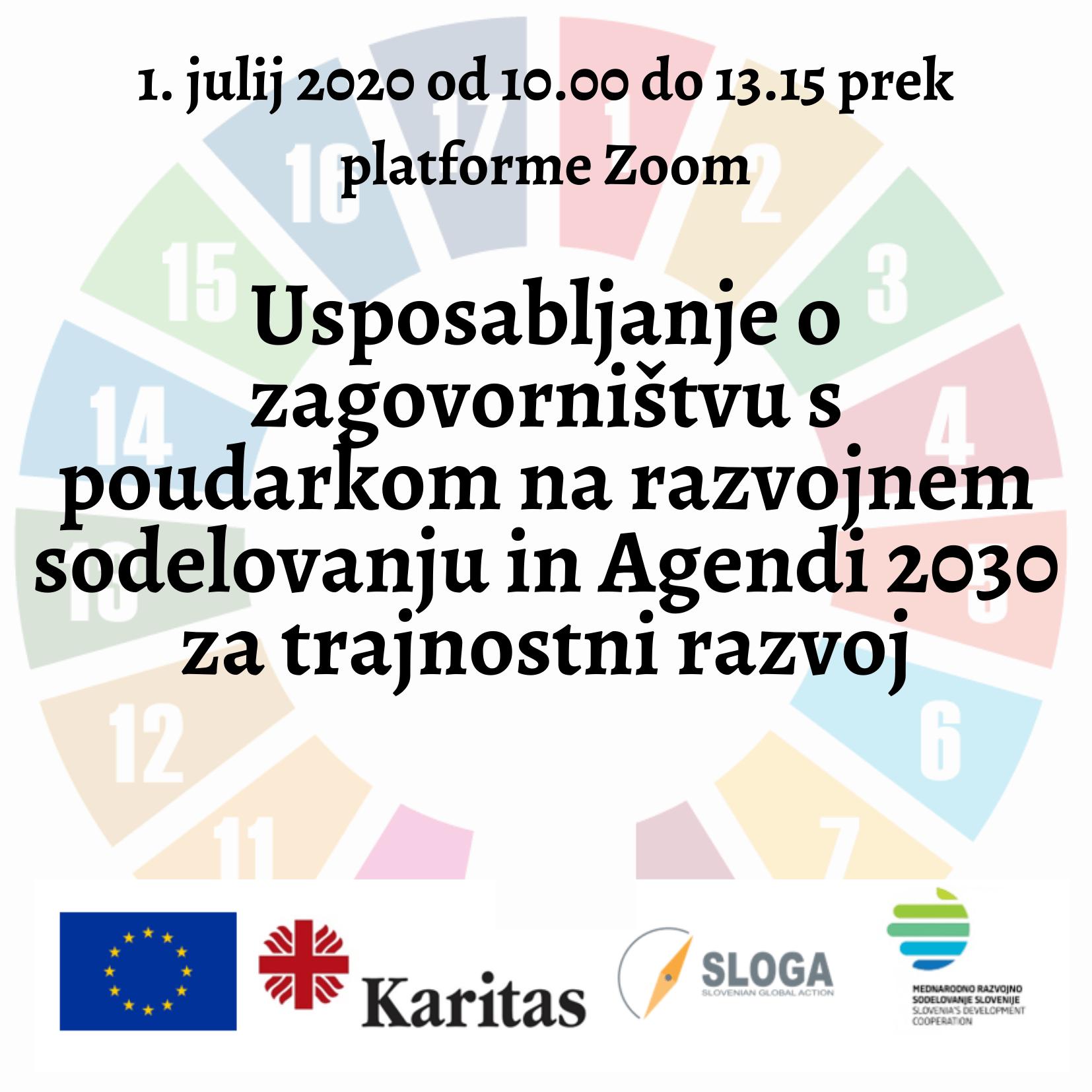 Usposabljanje o zagovorništvu s poudarkom na razvojnem sodelovanju in Agendi 2030 za trajnostni razvoj