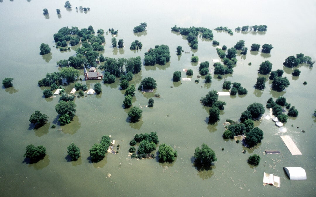 Mississippi River at Kaskaskia, Illinois during the Great Flood of 1993.