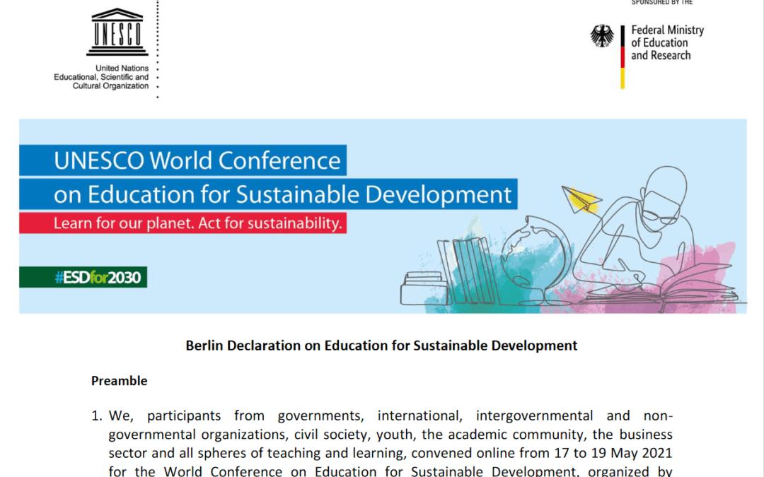 Sprejeta Berlinska deklaracija o izobraževanju za trajnostni razvoj