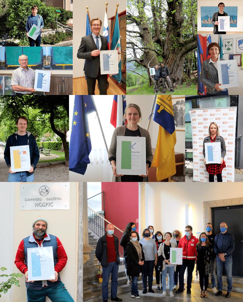 Nagrajene prostovoljke, prostovoljci in njihovi projekti. Vir: Slovenska filantropija