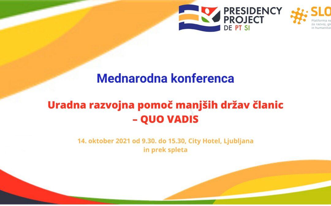 Uradna razvojna pomoč manjših držav članic – QUO VADIS