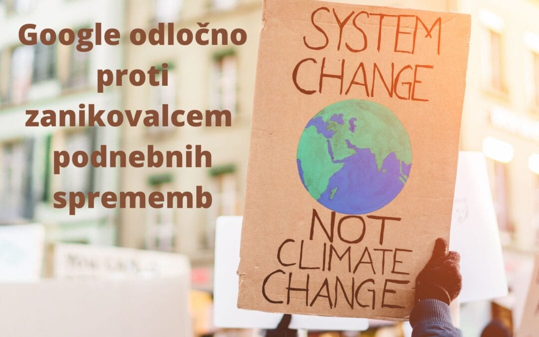 Google odločno proti zanikovalcem podnebnih sprememb